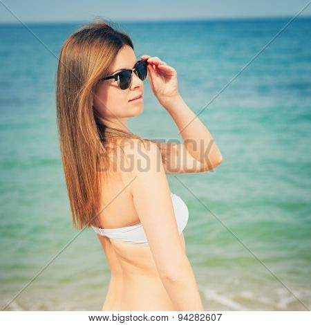 Sensual Happy Woman In Jeans Shorts