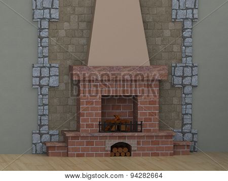 Room With Fireplace With Shelves Of Brick, Firewood