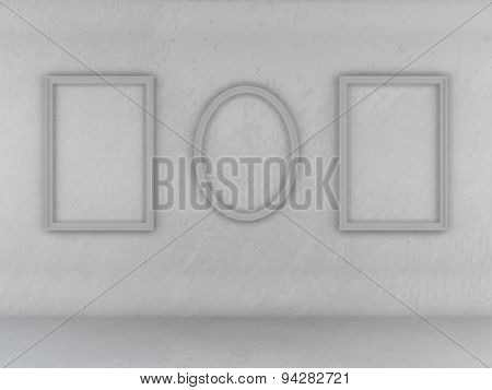 Abstract Texture Of Wall And Floor Gray Background Empty Frame On The Wall