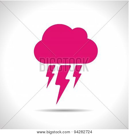 Vector weather icon. Pink flash. Eps10