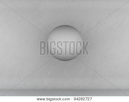 Abstract Texture Of Wall And Floor Gray Background White Ball With Shadow
