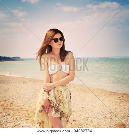 Young Sensual Happy Woman In Skirt