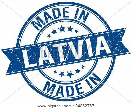 Made In Latvia Blue Round Vintage Stamp