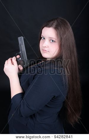 Woman Posing With Guns.