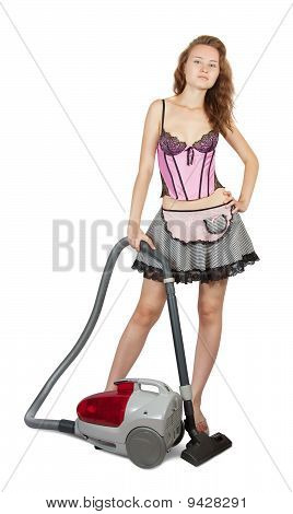 Sexy Girl With Vacuum Cleaner