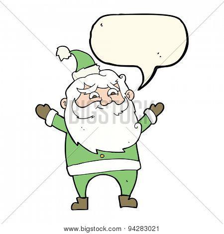 cartoon happy santa claus with speech bubble