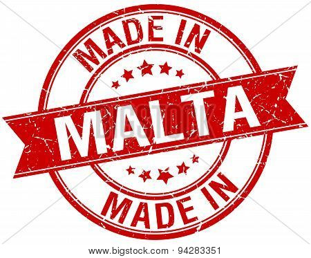 Made In Malta Red Round Vintage Stamp