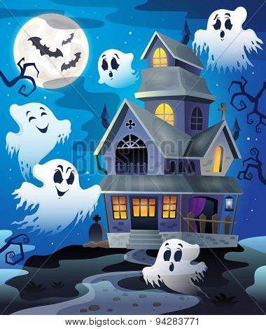 Image with haunted house thematics 4 - eps10 vector illustration.