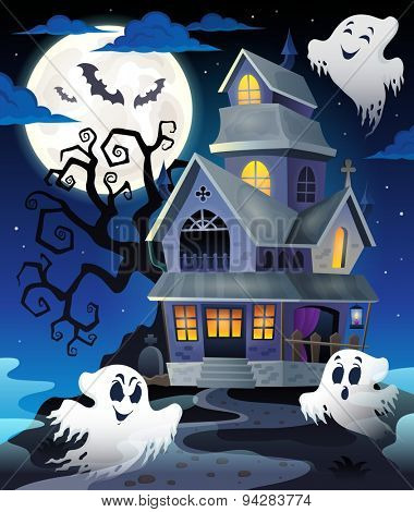 Image with haunted house thematics 5 - eps10 vector illustration.