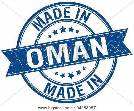 Made In Oman Blue Round Vintage Stamp