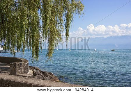 Lausanne Quay Of Geneva Lake In Summer