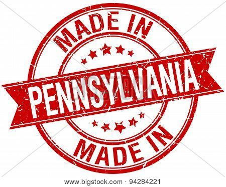 Made In Pennsylvania Red Round Vintage Stamp