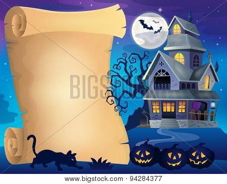 Parchment with haunted house thematics 2 - eps10 vector illustration.