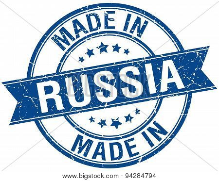 Made In Russia Blue Round Vintage Stamp