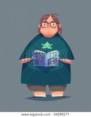 Funny geek character. Isolated vector illustration.
