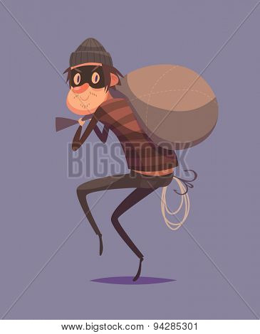 Funny thief character. Isolated vector illustration.