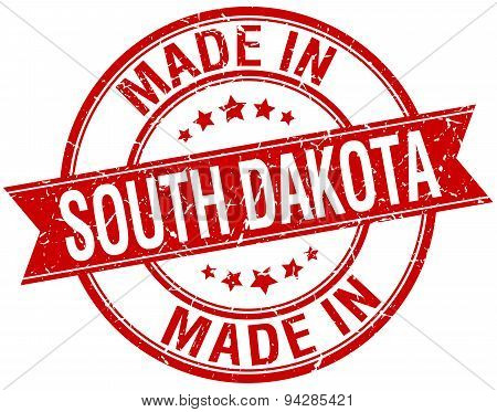 Made In South Dakota Red Round Vintage Stamp