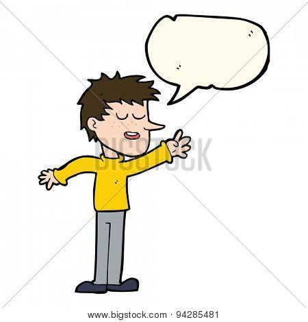cartoon happy man reaching with speech bubble