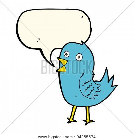 cartoon bluebird with speech bubble