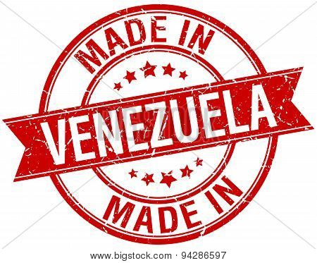 Made In Venezuela Red Round Vintage Stamp