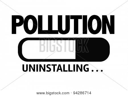 Progress Bar Uninstalling with the text: Pollution