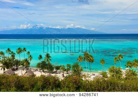 Beautiful coastal landscape of Moorea island in French Polynesia