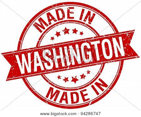 Made In Washington Red Round Vintage Stamp
