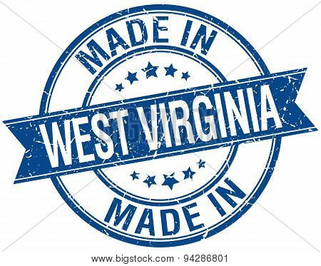 Made In West Virginia Blue Round Vintage Stamp