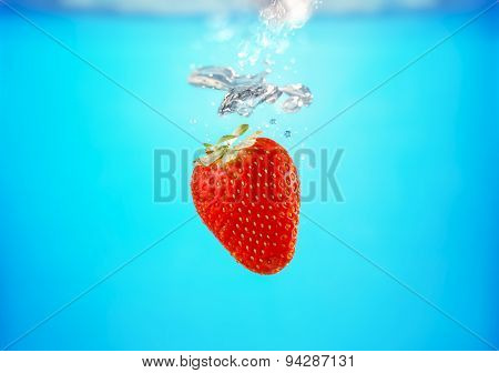 Strawberry Splashing Water