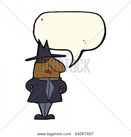 cartoon man in coat and hat with speech bubble