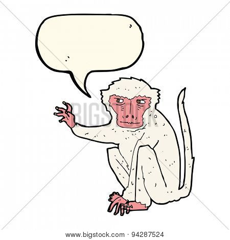 cartoon evil monkey with speech bubble