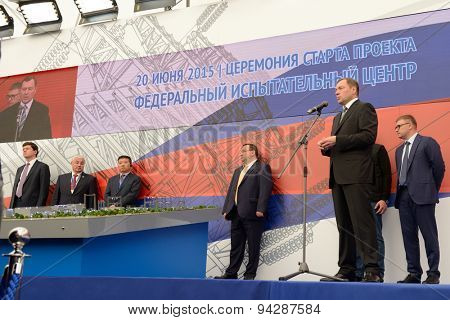ST. PETERSBURG, RUSSIA - JUNE 20, 2015: General director of JSC Russian Grids Oleg Budargin (right) delivers opening remarks during the presentation of the project of the Federal Test Center