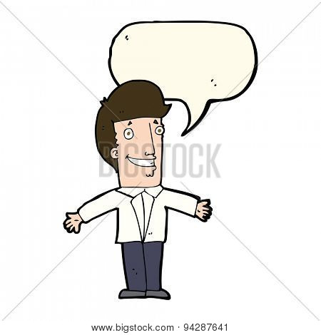 cartoon grining man with open arms with speech bubble