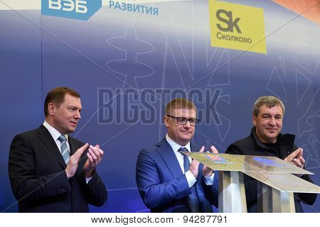 ST. PETERSBURG, RUSSIA - JUNE 20, 2015: Officials during the presentation of the project of the Federal Test Center for electrical equipment. The event is included in the program of SPIEF 2015