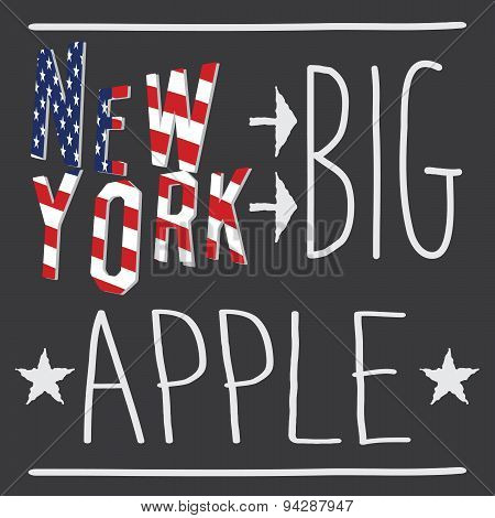 New York Big Apple Typography Poster, T-shirt Printing Design, Vector Badge Applique Label