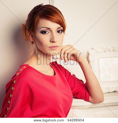 Fashionable Woman Posing In Red Dress