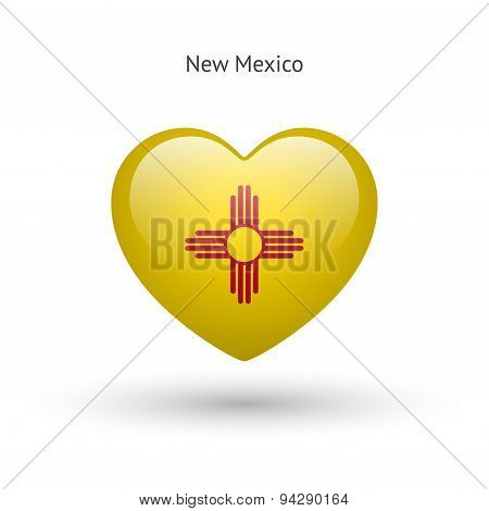 Love New Mexico state symbol. Heart flag icon.