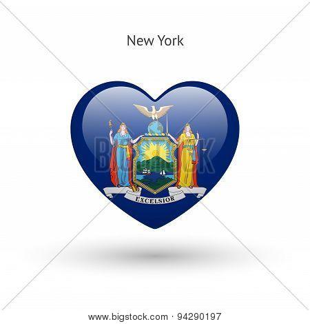 Love New York state symbol. Heart flag icon.