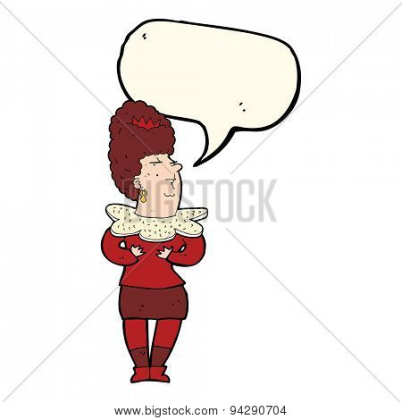 cartoon aristocratic woman with speech bubble