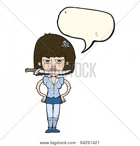 cartoon woman with knife between teeth with speech bubble
