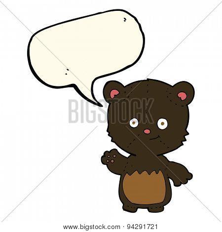 cartoon little black bear waving with speech bubble
