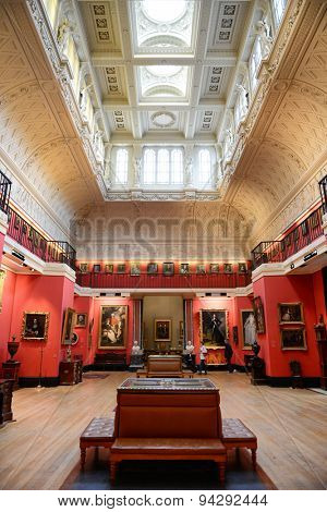 CAMBRIDGE, ENGLAND - MAY 13: Interior of Gallery Hall in Fitzwilliam Museum, Art and Antiquities Museum, England - Brightly Lit Gallery Museum Housing Fine Works of Art on May 13, 2015