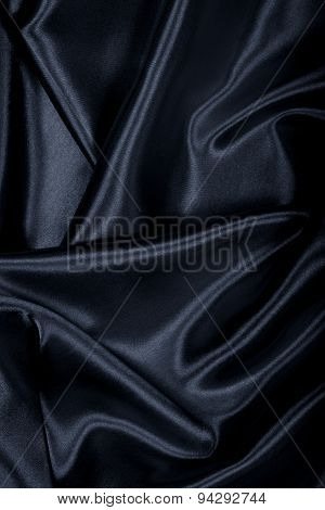 Smooth Elegant Black Silk Or Satin Texture As Background