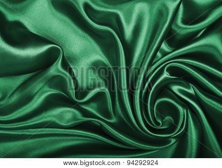 Smooth Elegant Green Silk Or Satin Texture As Background