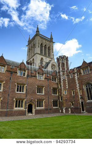 CAMBRIDGE, ENGLAND - MAY 13: View of St Johns College Chapel Tower from Inside Second Court, University of Cambridge, England on May 13, 2015