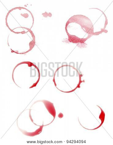 Wine stains isolated on white