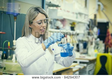 Female working in chemistry lab
