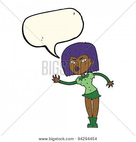 cartoon vampire girl with speech bubble