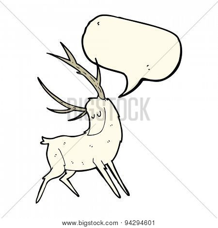cartoon white stag with speech bubble