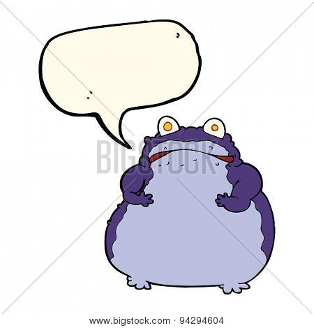 cartoon fat frog with speech bubble